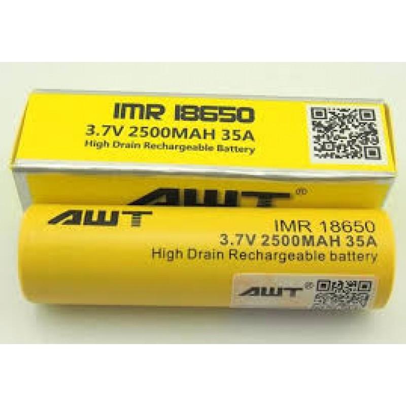 AWT 18650 battery 2500mah 35A 3.7V battery